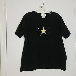 Quacker Factory 1X Black Tee With Embroidered Star